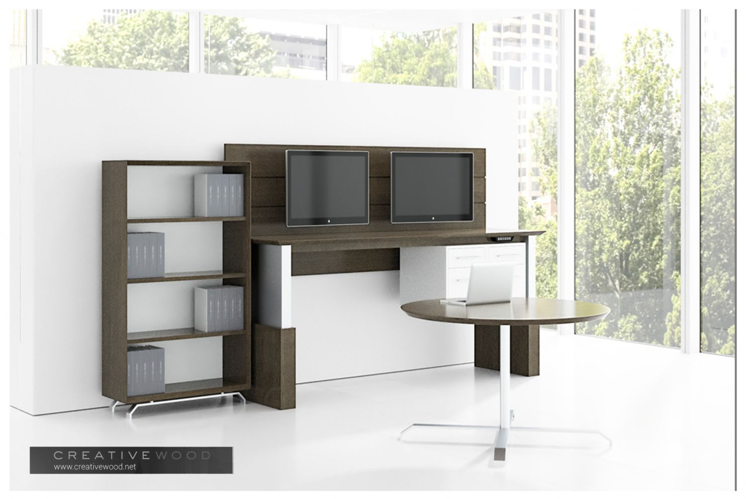 Rendering of office casegoods from Creative Wood's 3x9 furniture collection