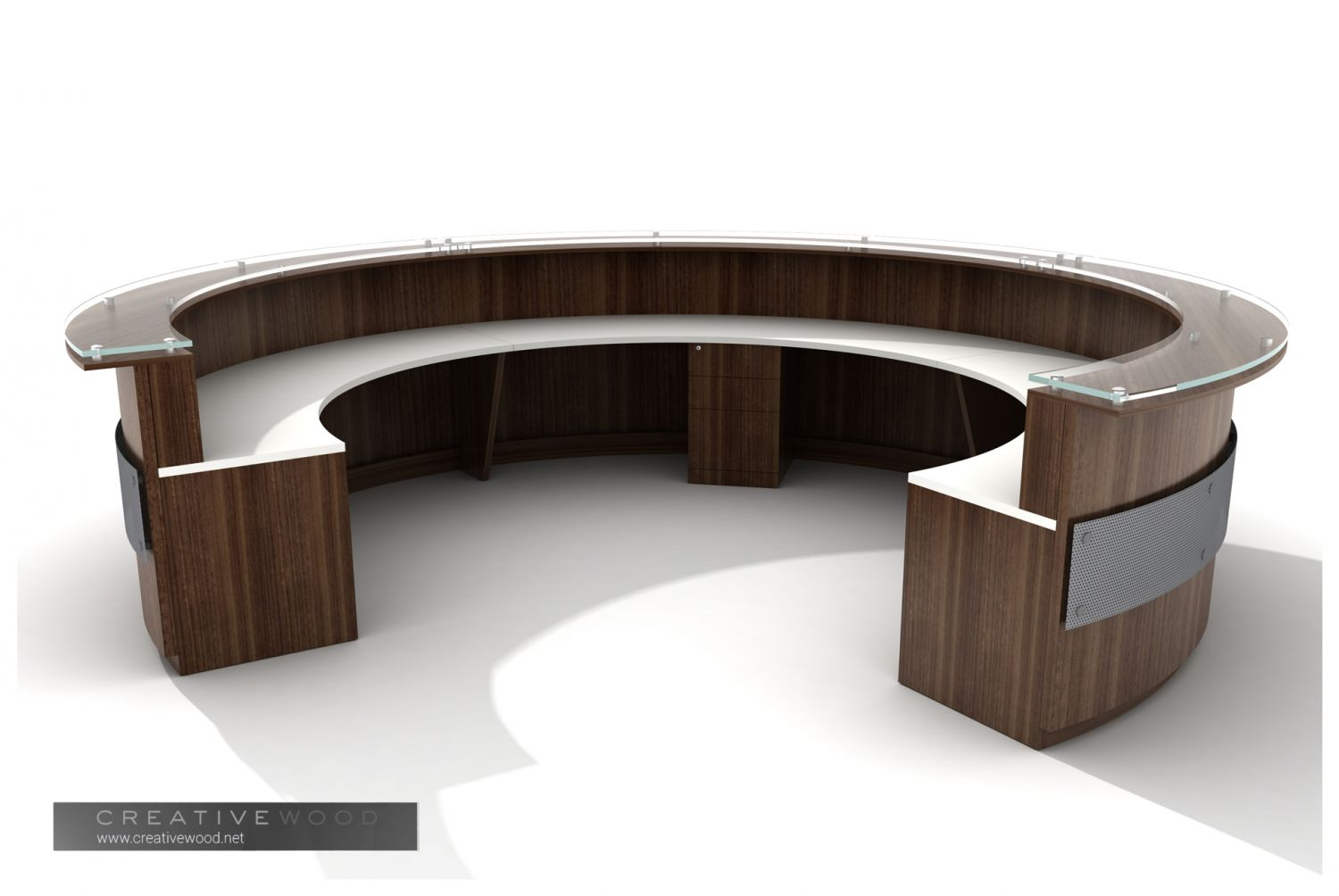 Office reception desk with built-in lighting by Creative Wood