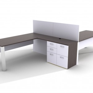 Rendering of desks with credenzas from Creative Wood's FOCUS office casegood collection