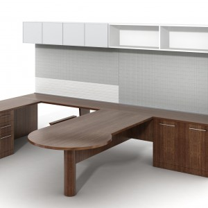 Rendering of a workspace from Creative Wood's Platform 1 office furniture collection