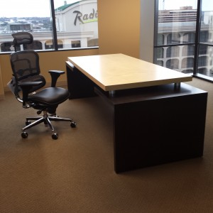Chair and desk in client office from Creative Wood's Platform 2/3 furniture collection