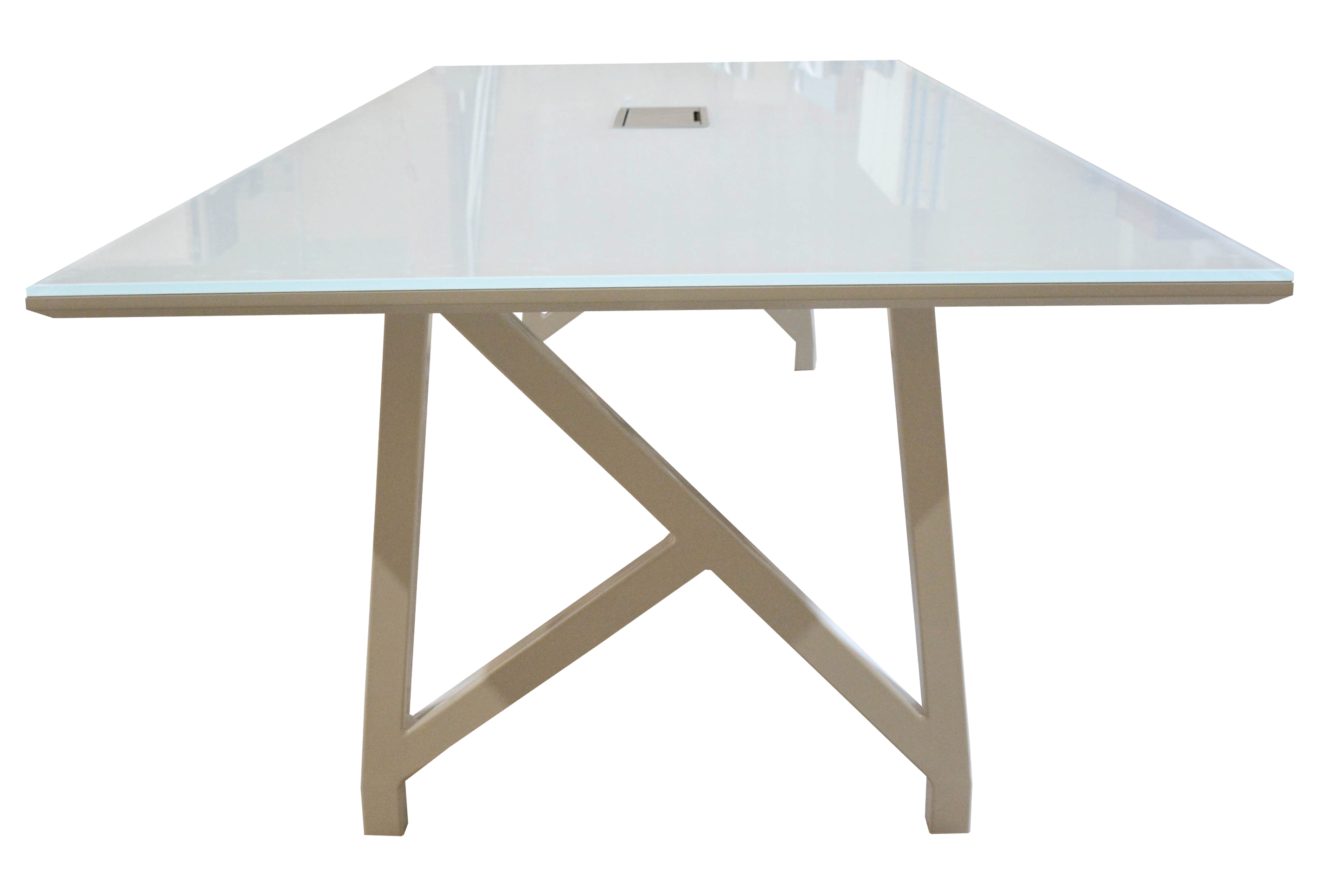 White Back Painted Glass Conference Table Creative Wood